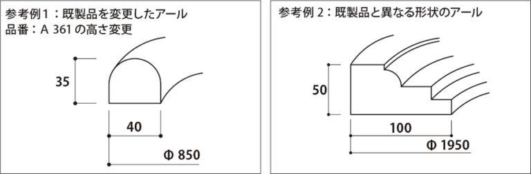 円形アール特注品の参考例